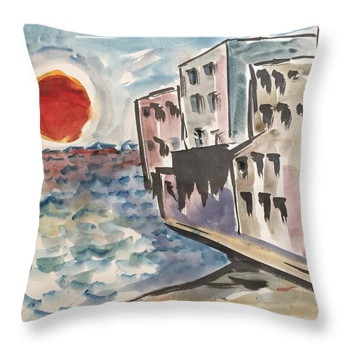 Sunset Beach Condo Sand Vacation Throw Pillow featuring the painting Beach Condos by Ken Blacktop Gentle