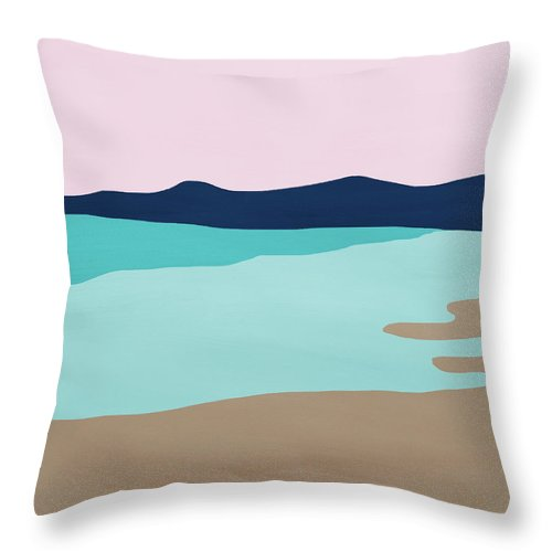 Beach Throw Pillow featuring the mixed media Beach Cove- Art by Linda Woods by Linda Woods