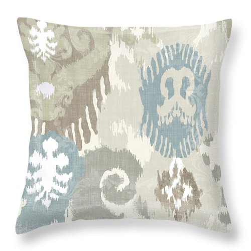 Ikat Throw Pillow featuring the painting Beach Curry I Ikat by Mindy Sommers