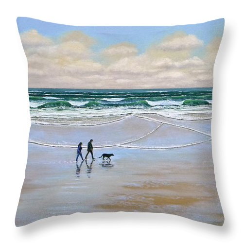 Beach Throw Pillow featuring the painting Beach Dog Walk by Frank Wilson