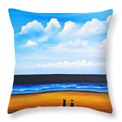 Border Throw Pillow featuring the painting Beach Dogs by Todd Young