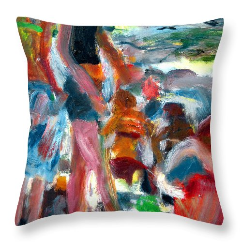 Dornberg Throw Pillow featuring the painting Beach Dress by Bob Dornberg