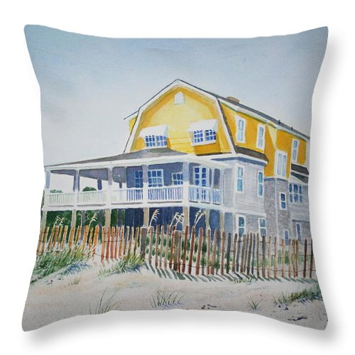 Ocean Throw Pillow featuring the painting Beach Front At Wrightsville Beach by Tom Harris