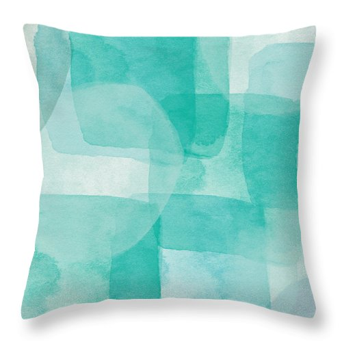 Abstract Throw Pillow featuring the painting Beach Glass- Abstract Art By Linda Woods by Linda Woods