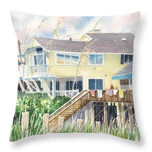 Seascape Throw Pillow featuring the painting Beach House At Wrightsville Beach by Tom Harris