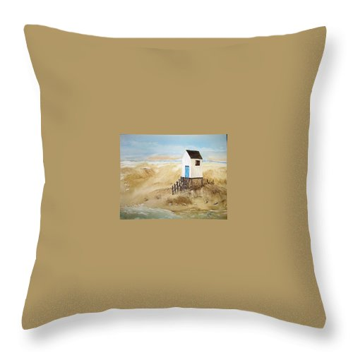 Ocean Throw Pillow featuring the painting Beach House by Maris Sherwood