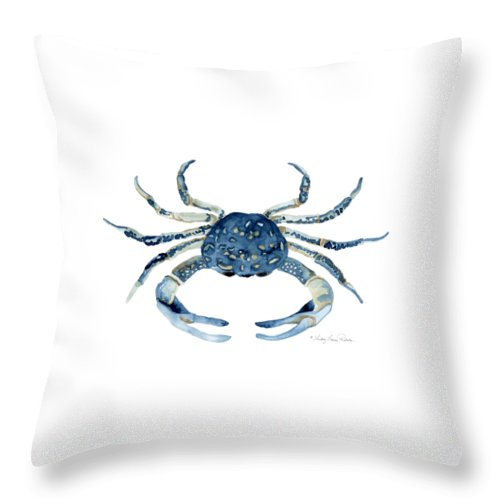 Sea Life Throw Pillow featuring the painting Beach House Sea Life Blue Crab by Audrey Jeanne Roberts