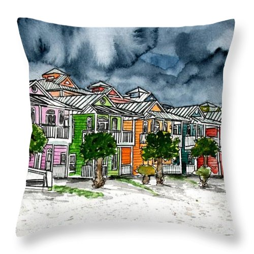 Watercolor Throw Pillow featuring the painting Beach Houses Watercolor Painting by Derek Mccrea