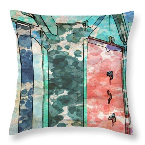 Coast Throw Pillow featuring the digital art Beach Huts by Paul Stevens