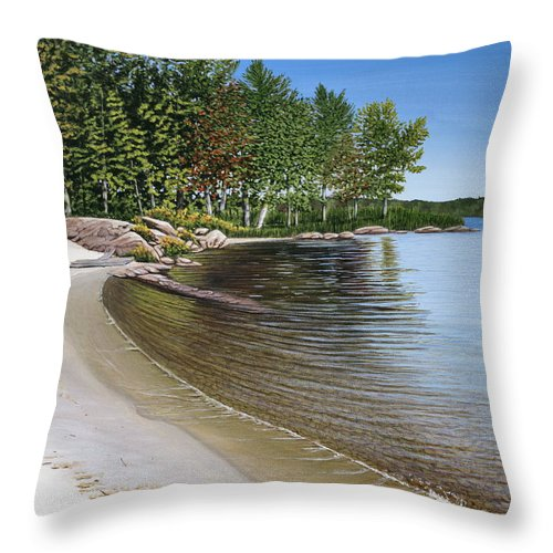 Landscapes Throw Pillow featuring the painting Beach In Muskoka by Kenneth M Kirsch