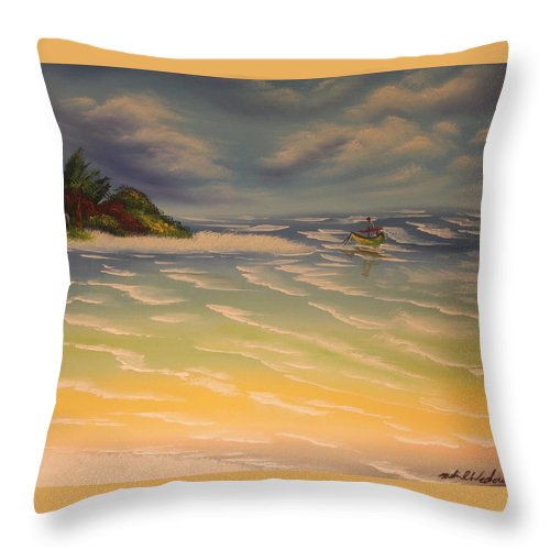 Beach Throw Pillow featuring the painting Beach Island by Nadine Westerveld