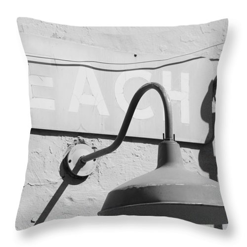 Black And White Throw Pillow featuring the photograph Beach Light by Rob Hans