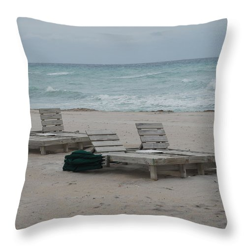 Chairs Throw Pillow featuring the photograph Beach Loungers by Rob Hans