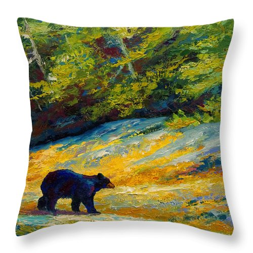Bear Throw Pillow featuring the painting Beach Lunch - Black Bear by Marion Rose