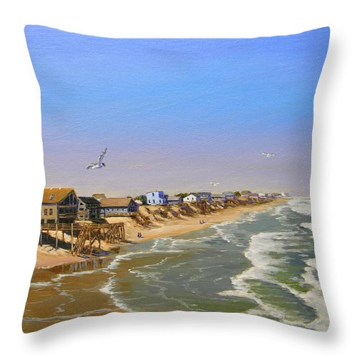 Seascape Throw Pillow featuring the painting Beach Of The Outer Banks Of N.c. by Jerry Spangler