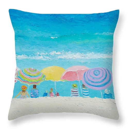 Coastal Color Throw Pillows : Beach Painting - Color Of Summer Throw Pillow for Sale by Jan Matson