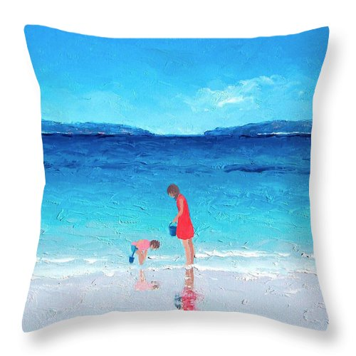 Beach Throw Pillow featuring the painting Beach Painting - Cooling Off by Jan Matson