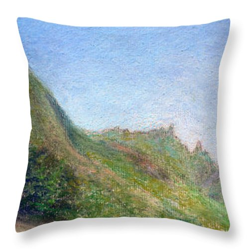 Rainbow Colors Pastel Throw Pillow featuring the painting Beach Palms by Kenneth Grzesik