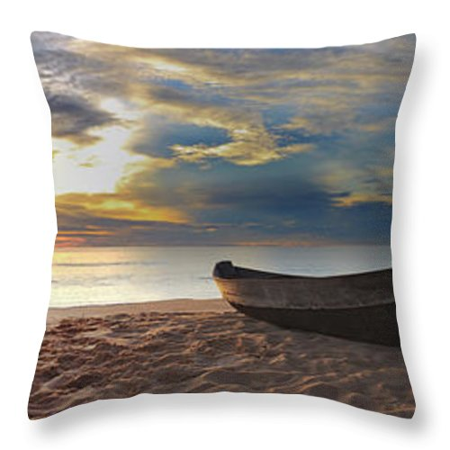Fisherman Throw Pillow featuring the photograph Beach Panorama by MotHaiBaPhoto Prints