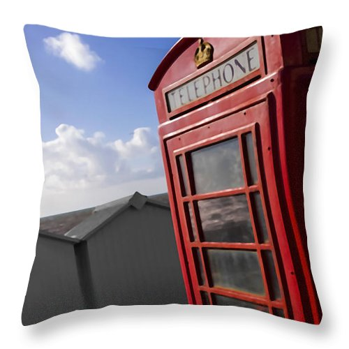 Box Throw Pillow featuring the photograph Beach Phonebox by Sebastien Coell