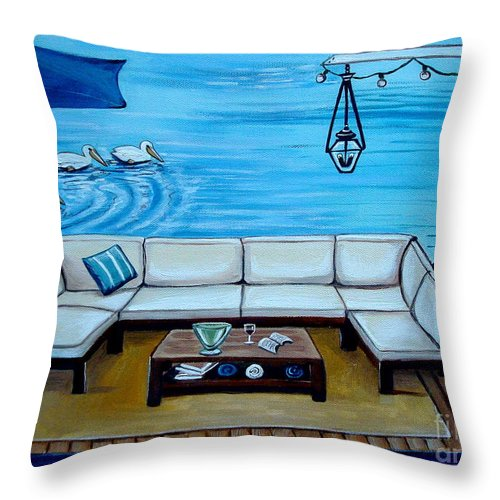 Home Decor Throw Pillow featuring the painting Beach Picnic by Elizabeth Robinette Tyndall