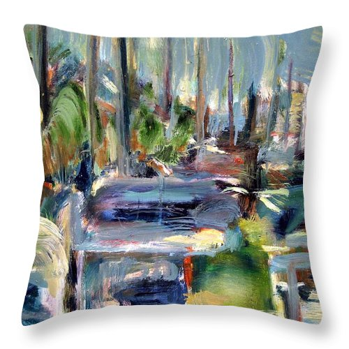 Dornberg Throw Pillow featuring the painting Beach Row by Bob Dornberg