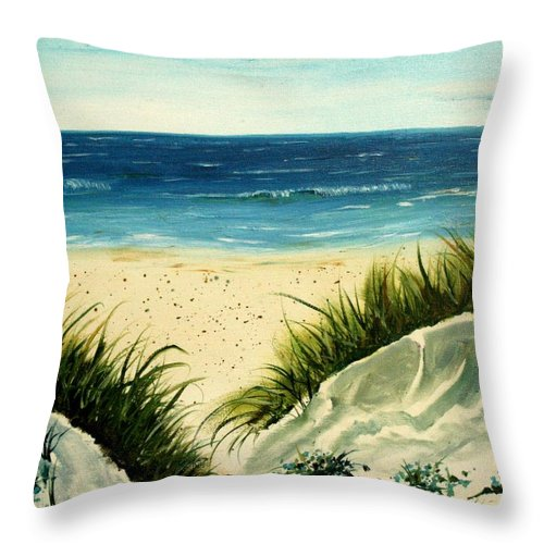 Beach Throw Pillow featuring the painting Beach Sand Dunes Acrylic Painting by Derek Mccrea