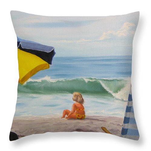 Seascape Throw Pillow featuring the painting Beach Scene - Childhood by Lea Novak