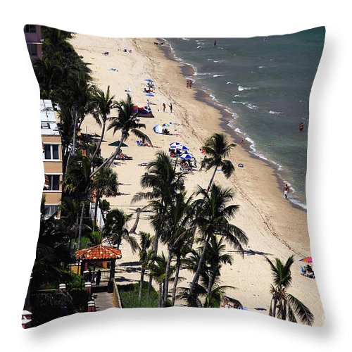Beach Throw Pillow featuring the photograph Beach Scene by David Lee Thompson