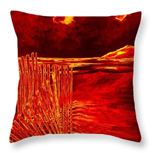 Beach Throw Pillow featuring the painting Beach Scene by Michael Vigliotti