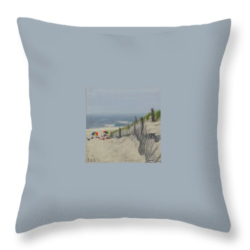 Beach Throw Pillow featuring the painting Beach Scene Miniature by Lea Novak