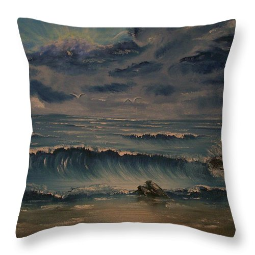 Water Throw Pillow featuring the painting Beach Scene by Stephen King