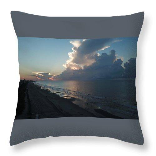 Beach Sunrise Silver Lining Clouds Digital Drone Throw Pillow featuring the digital art Beach Silver Lining by James Mcpherson