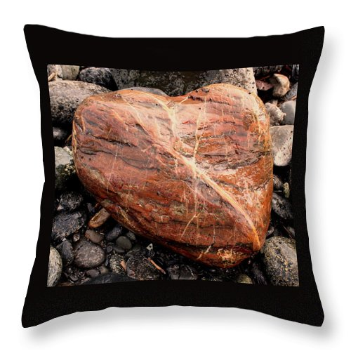 Jasper Throw Pillow featuring the photograph Beach Stone Heart by Dreamweaver Gallery