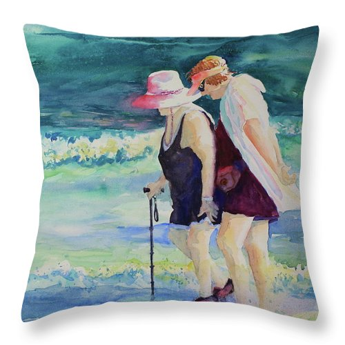 Beach Throw Pillow featuring the painting Beach Strollers II by Marsha Reeves