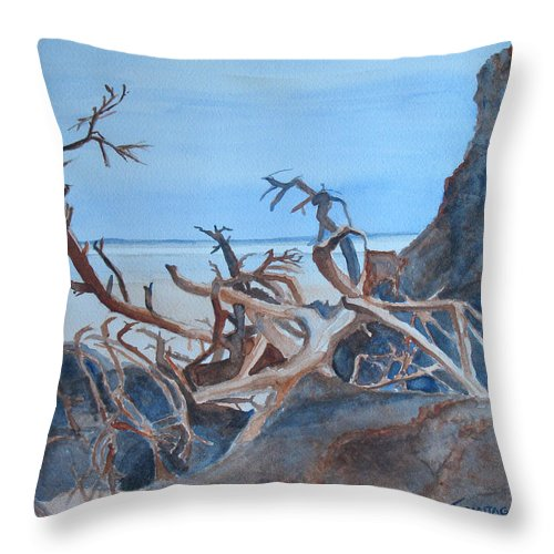 Seascapes Throw Pillow featuring the painting Beach Tangle by Jenny Armitage