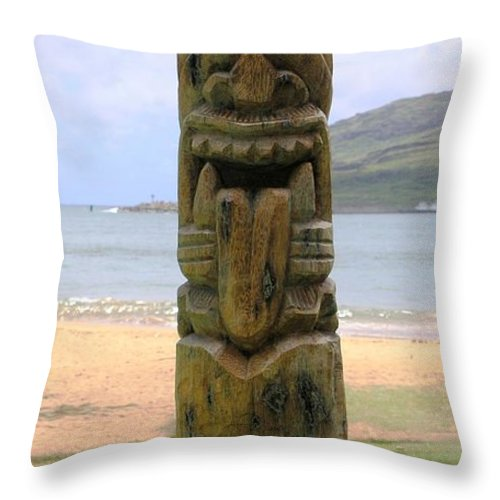 Beach Throw Pillow featuring the pastel Beach Tiki by Mary Deal