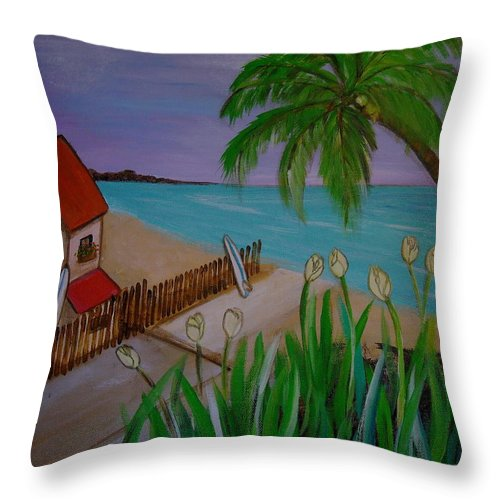 Beach Throw Pillow featuring the painting Beach Time by Pristine Cartera Turkus