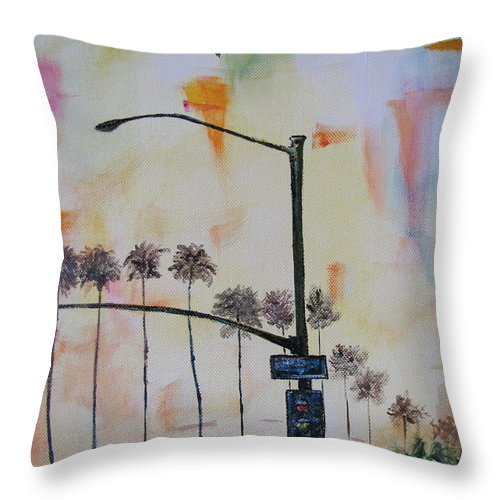 Beach Throw Pillow featuring the painting Beach Traffic - Sold by Gary Smith