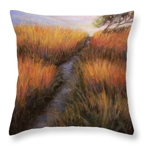 Landscape Throw Pillow featuring the painting Beach Trail by Susan Jenkins