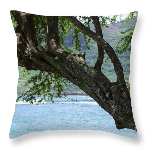 Blue Throw Pillow featuring the photograph Beach Tree by Mary Deal