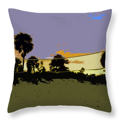 Beach Volley Ball Throw Pillow featuring the painting Beach Volley Ball by David Lee Thompson