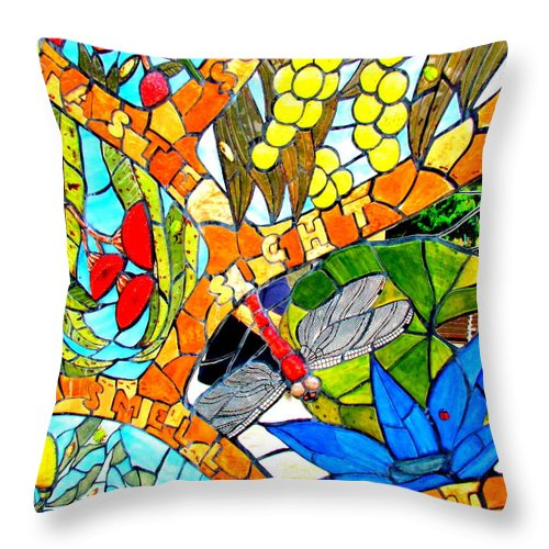 Throw Pillow featuring the photograph Tiles Beach Walk. by Joyce Woodhouse