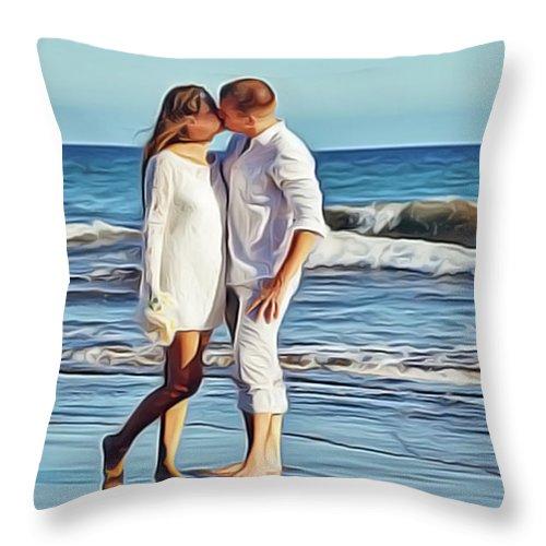 Beach Wedding Throw Pillow featuring the painting Beach Wedding by Harry Warrick
