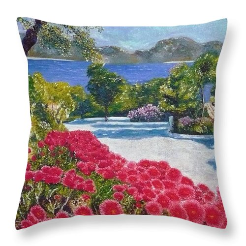 Landscape Throw Pillow featuring the painting Beach With Flowers by Ericka Herazo