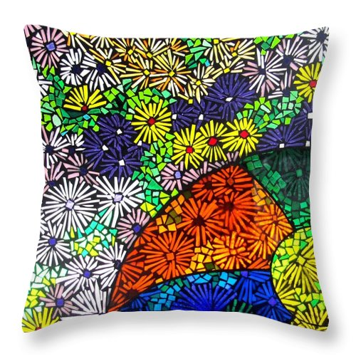 Throw Pillow featuring the glass art Beachballs And Daisies by Jeffrey Todd Moore