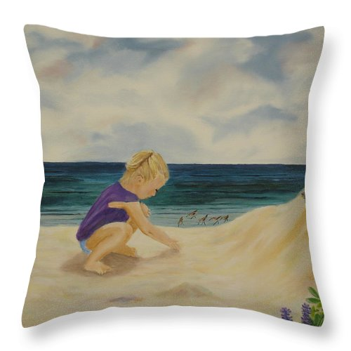 Child Throw Pillow featuring the painting Beachcomber by Susan Kubes