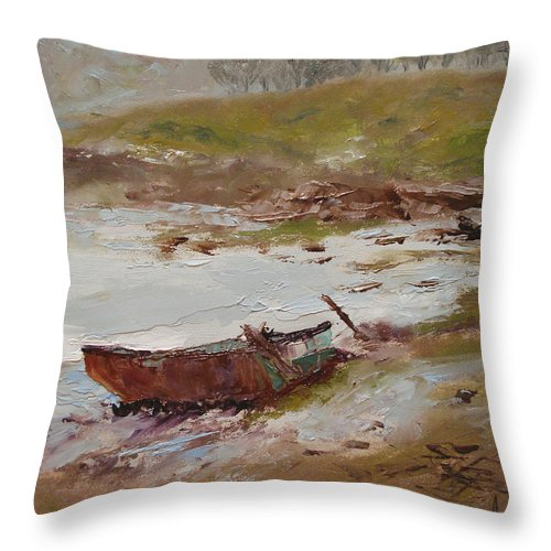 Landscape Throw Pillow featuring the painting Beached by Barbara Andolsek