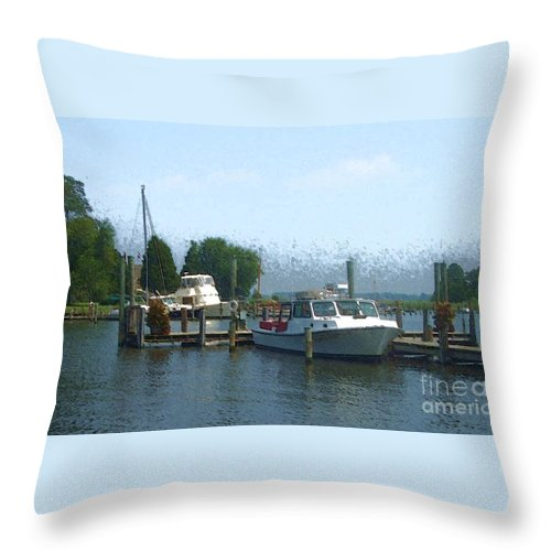 Boat Throw Pillow featuring the photograph Beached Buoys by Debbi Granruth