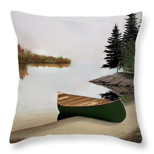Canoe Paintings Throw Pillow featuring the painting Beached Canoe In Muskoka by Kenneth M Kirsch